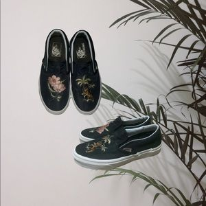 Women's Black Satin Embroidered Vans